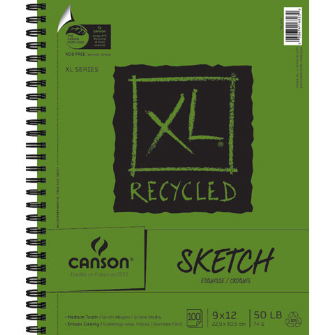 Canson XL Recycled Spiral Sketch Pad: 9 x 12 inches