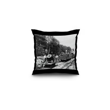 Petersburg, VA - Mortar Dictator on Railroad Civil War Photograph (16x16 Spun Polyester Pillow, Black Border)