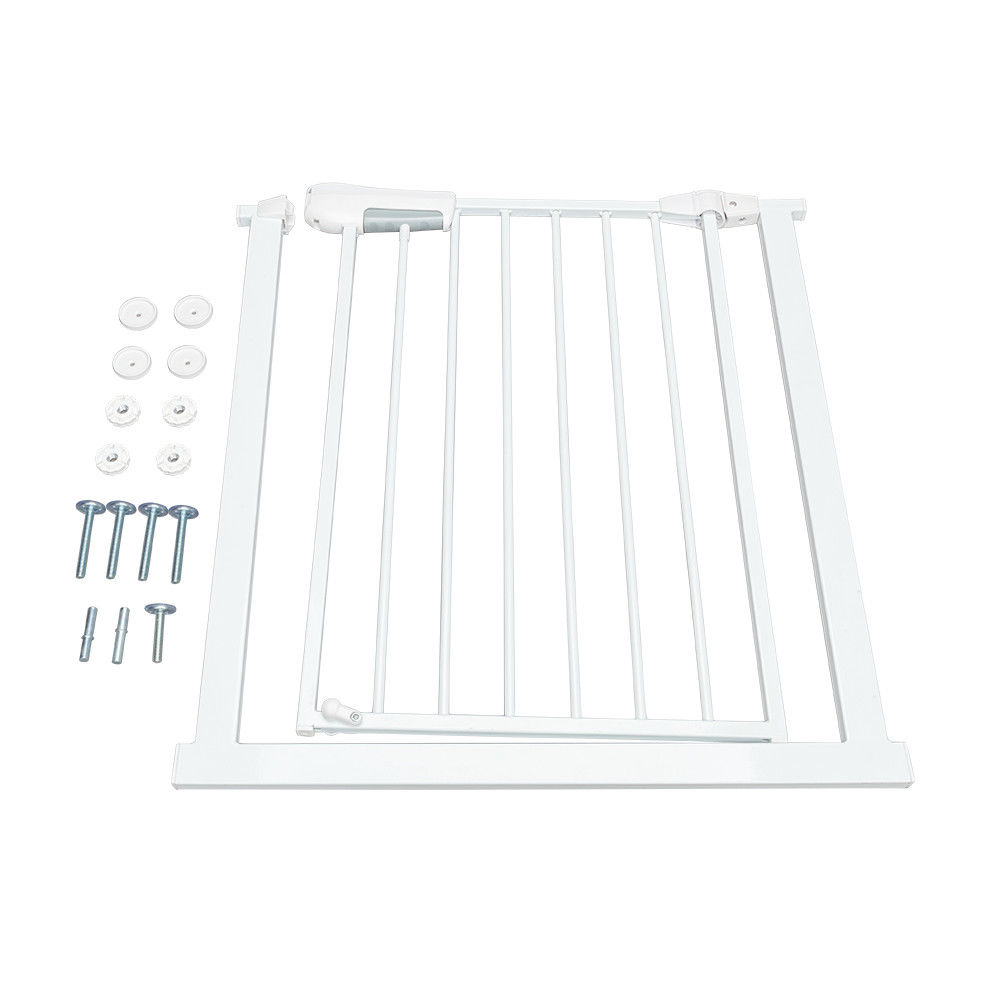 """GHP 31.89""""x29.13""""x1.97"""" White Cold Rolled Tube Portable Pet Baby Safety Gate Fence by Globe House Products"""