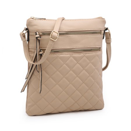 POPPY Women's Chic Quilted Crossbody Purse Lightweight Multiple Zipper Pockets Shoulder Bag Faux Leather Small Handbags Find Quilted Handbags