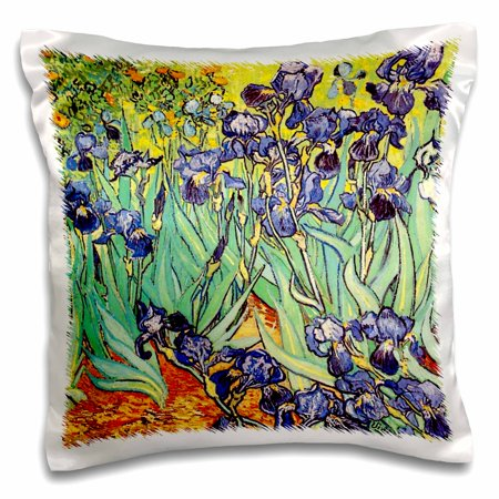 3dRose Irises by Vincent van Gogh 1889 - purple flowers iris garden - copy of famous painting by the master - Pillow Case, 16 by 16-inch Planting Iris Flowers
