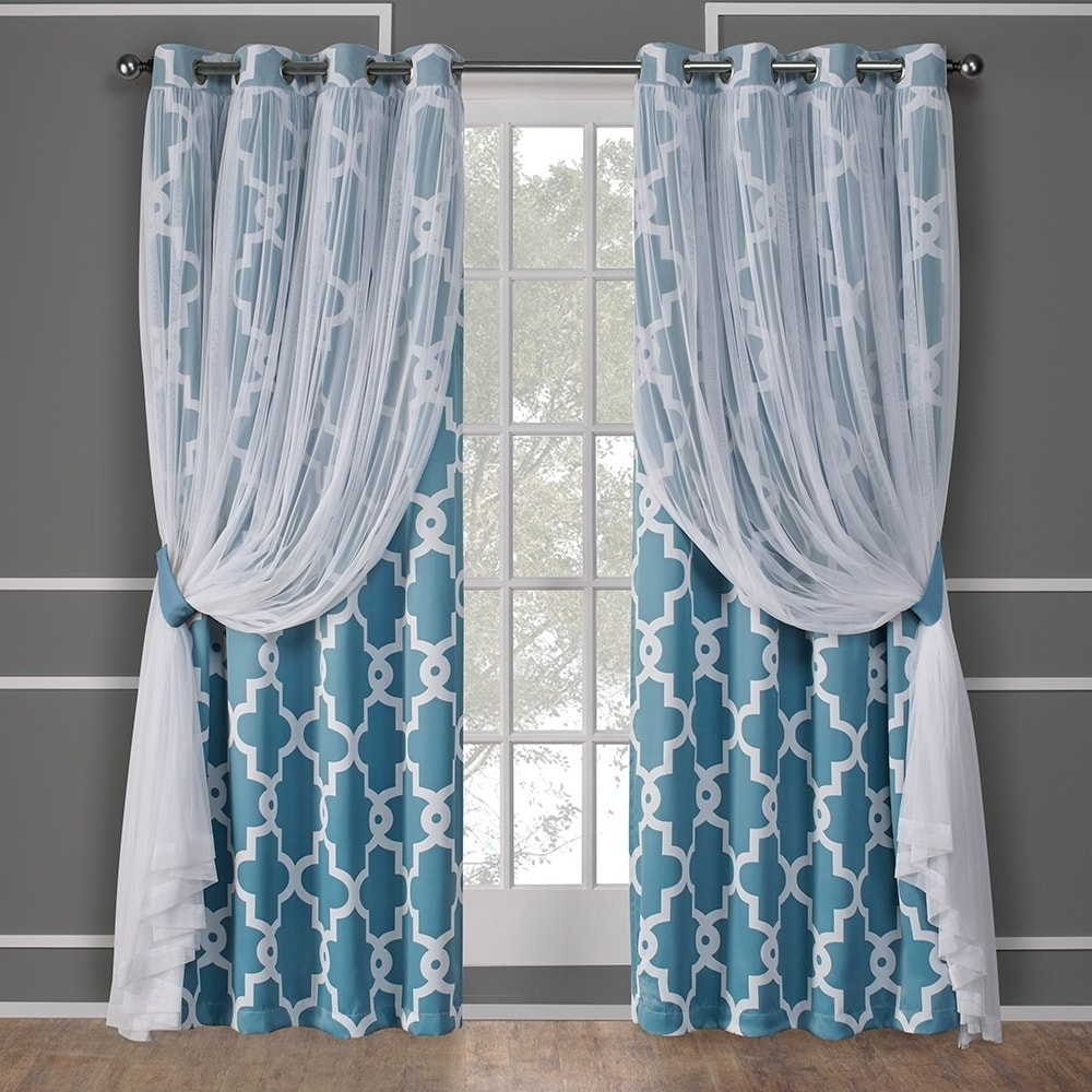 Exclusive Home Alegra Layered Gated Blackout and Sheer Window Curtain Panel Pair with Grommet Top, Aqua, 52x96