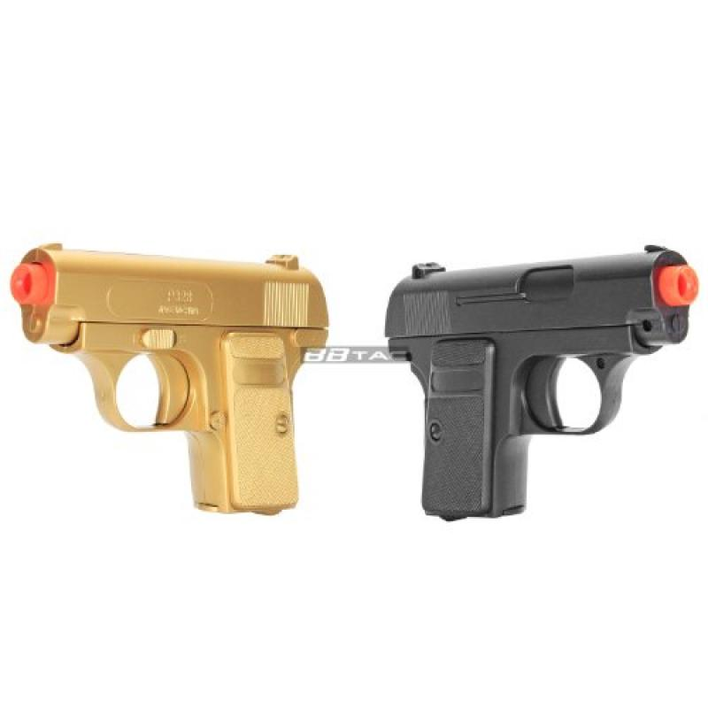 BBTac Gold and Black Dual 618 Airsoft Sub-Compact Pocket Pistols 110 FPS Spring Concealable Gun with Storage Case by