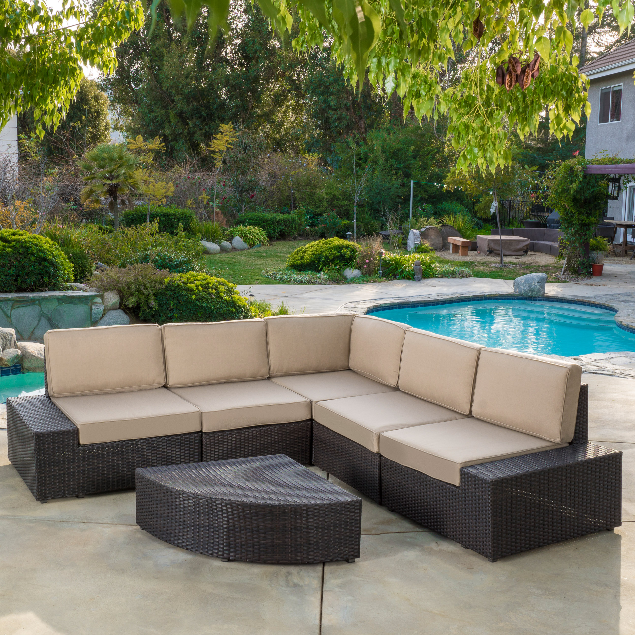 Wonderful Noble House Outdoor 6 Piece Brown Wicker Sofa Sectional Set