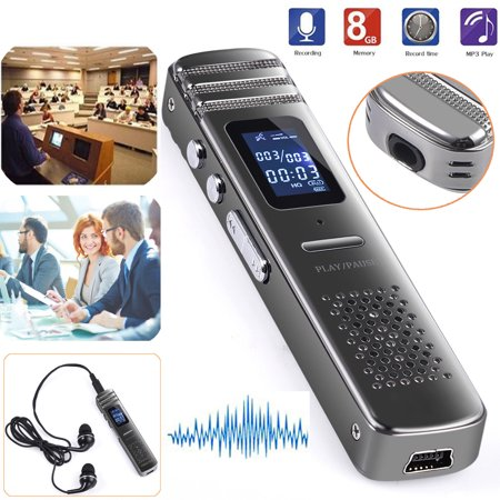 ESYNIC 8GB Digital Voice Recorder Rechargeable Dictaphone Pen Portable MP3 Player (Sweetpea Mp3)