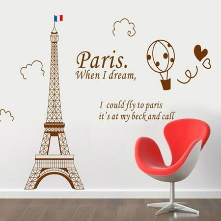 Home Decor amovible Designable PVC Noir DIY Sticker mural Motif Tour Eiffel Blanc 60 x 90 cm - image 5 de 8