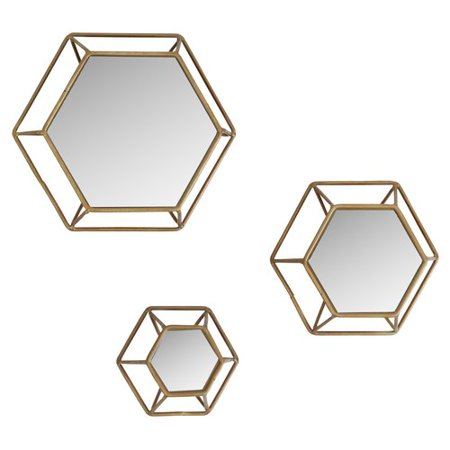 Ivy Bronx Cyril 3 Piece Hexagonal Wall Mirror Set Walmartcom