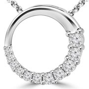 Diamond Journey Circle Pendant Necklace in 14K White Gold With Chain, 0. 5 Carat