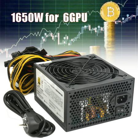 Aimeeli 1650W Ethereum Rig Miner Mining/Watt Gaming Power Supply for Graphics Card 6pcs 370 470