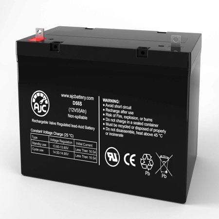 Merits P181-2HD S 12V 55Ah Wheelchair Battery - This is an AJC Brand Replacement - image 1 of 6