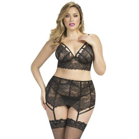 1bf955560a Oh La La Cheri - Full Figure Plus Size Strappy Lace Bralette and Garterbelt  G-string Lingerie Set - Walmart.com