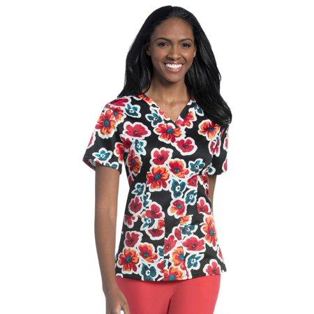 Urbane Essentials Women's V-Neck Floral Print Tunic Scrub Top - Halloween Print Scrubs