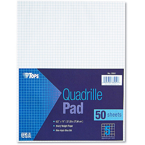 "TOPS Quadrille Pad, 5"" Squares, 8-1/2 x 11, White, 50 Sheets"