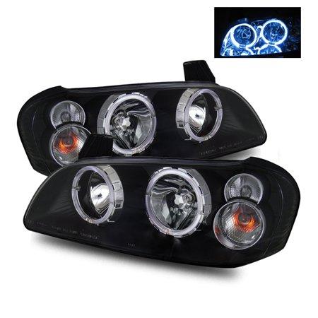 (For 02-03 Nissan Maxima (Halogen Type) Angel Eye Halo Crystal Headlights Black)