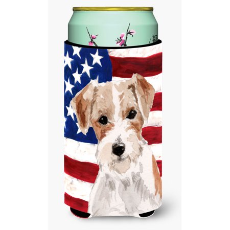 Wire Hair Jack Russell Patriotic Tall Boy Beverage Insulator Hugger