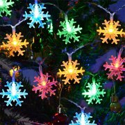 Snowflake Led Lights 10 LED Battery-Operated Fairy String Lights Snowflake Decorations for Home, Holiday, Wedding, Birthday Party, Christmas(6.56ft- Multicolor)