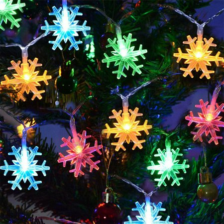 Snowflake Led Lights 10 LED Battery-Operated Fairy String Lights Snowflake Decorations for Home, Holiday, Wedding, Birthday Party, Christmas(6.56ft- Multicolor) Led Lighted Snowflake
