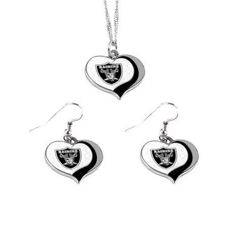 Aminco NFL Oakland Raiders Sports Team Logo  Glitter Heart Necklace and Earring Set Charm - Raiders Necklace
