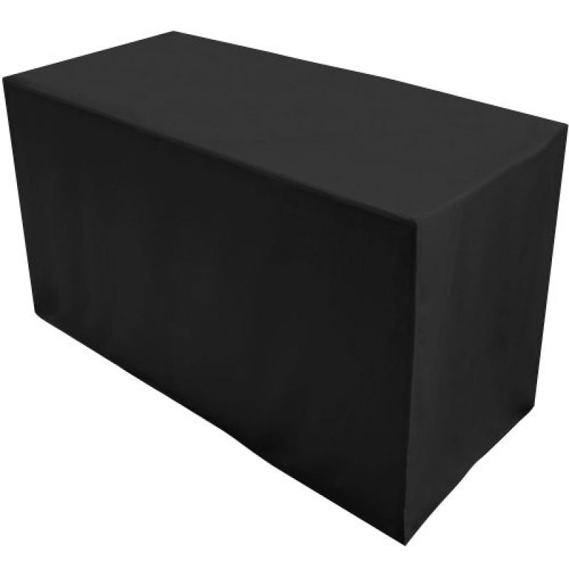 Folding Table Cover, Fitted Tablecloth for 4-Foot Folding Table, Black