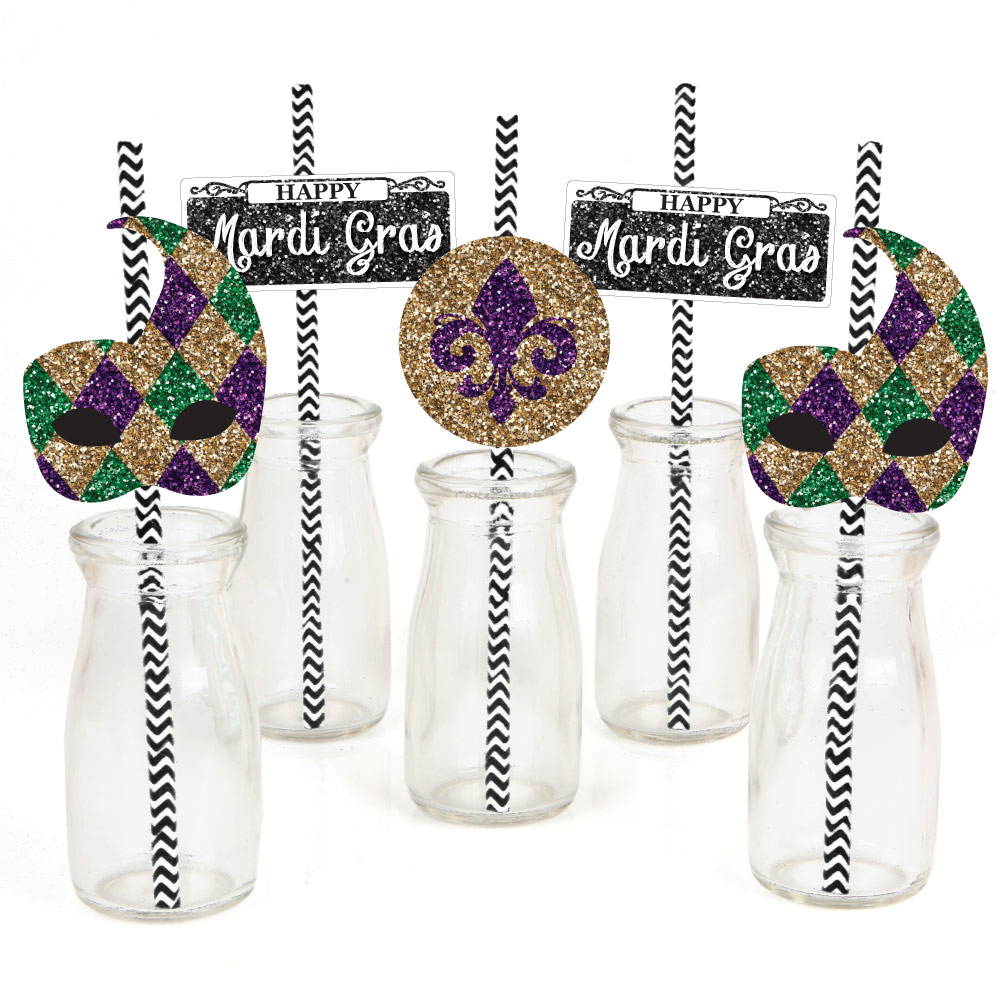 DIY Shaped Masquerade Party Cut-Outs 24 Count Big Dot of Happiness Mardi Gras