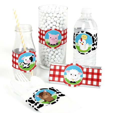 Farm Animals - DIY Baby Shower or Birthday Party Wrapper Favors - Set of 15