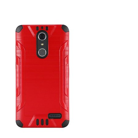 Phone Case For Zte Blade Spark 4G At Prepaid Smartphone  Zte Grand X4  Cricket Wireless  Case  Metallic Brush Cover Case   Screen Protector  Red
