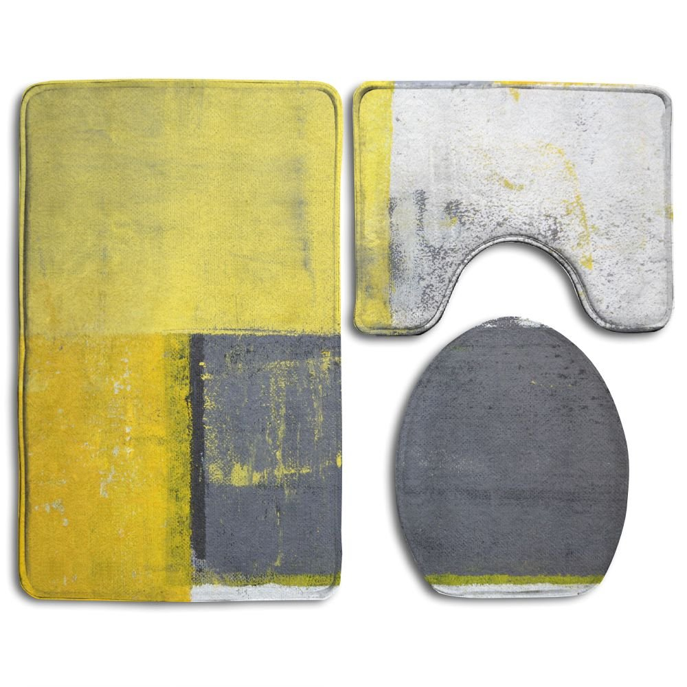 Grey and Yellow Camouflage Shower Curtain Toilet Cover Rug Bath Mat Contour Rug
