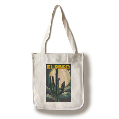 El Paso, Texas - Cactus & Full Moon - Lantern Press Artwork (100% Cotton Tote Bag - Reusable)
