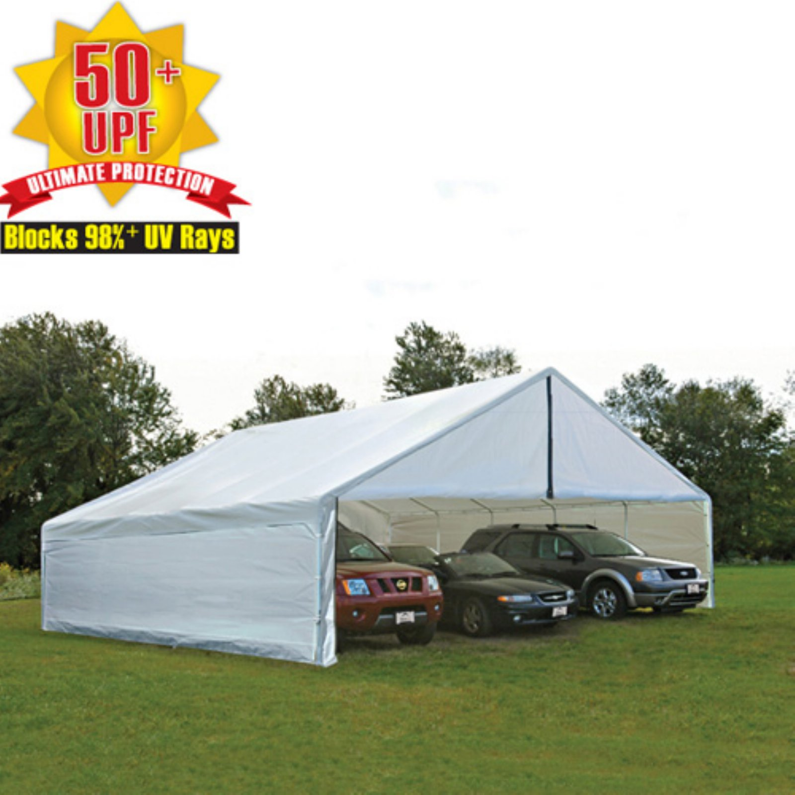 "ShelterLogic Ultra Max 30' x 40' White Industrial Canopy Enclosure Kit Fits 2 3/8"" Frame"