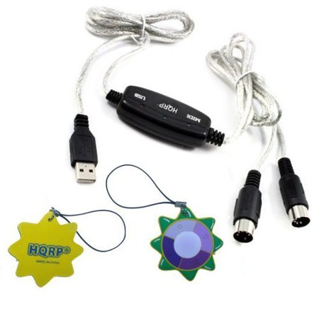 hqrp usb in out midi interface cable converter pc to music keyboard adapter cord for acorn. Black Bedroom Furniture Sets. Home Design Ideas