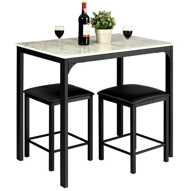 3 piece counter height dining set faux marble table 2