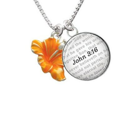 Delight Jewelry Hot Orange Hibiscus Flower Bible Verse John 316