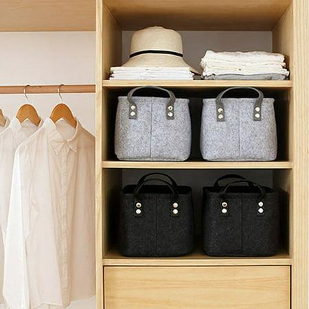 Brand New Desktop Felt and Other Storage Bags Foldable Laundry Basket Felt Storage Bucket Black Grey Household - image 2 de 6