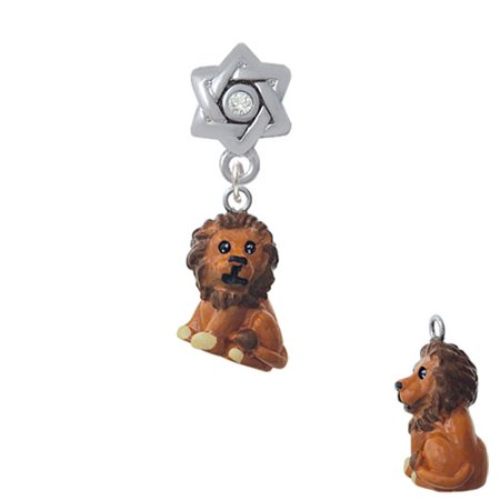 - Resin Tan Lion - Star of David with Clear Crystal Charm Bead