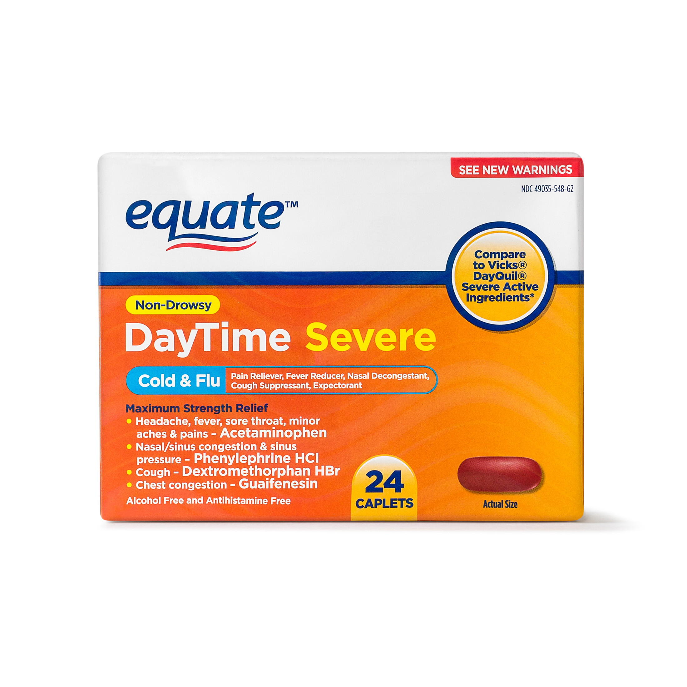 Equate DayTime Severe Non-Drowsy Cold & Flu Caplets, 325 mg 24 Ct