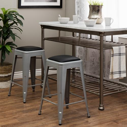 I Love Living Tabouret 24 Inch Padded Metal Counter Stool