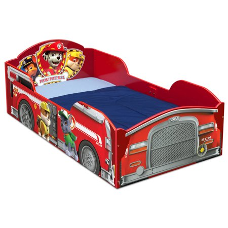 Delta Children Red Fire Truck PAW Patrol Wood Toddler Bed Frame with Guardrails