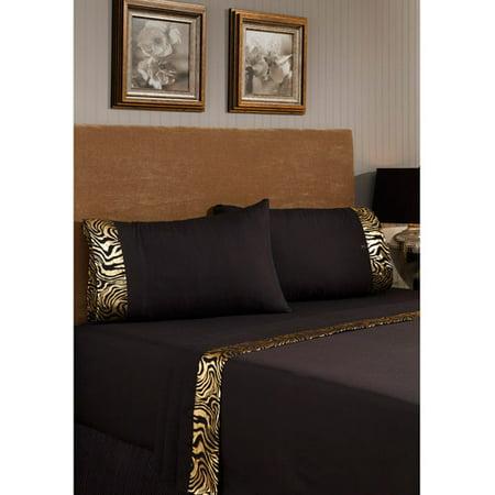 Image of Divatex Home Fashions Metallic Printed Bling Bedding Sheet Set, Zebra