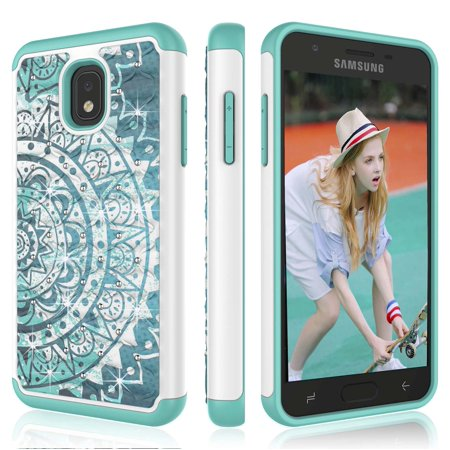 Galaxy J3 Emerge 2018 Case, Galaxy Sol 3 Cute Case, J3 2018 Cover, Tekcoo Retro Pattern Lovely [Bling Datura Mint] Shock Absorbing Rubber Sturdy Plastic Defender Bumper Rugged Hard Sturdy Cover Cases](Plastic Bling)