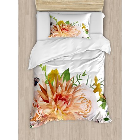 Anemone Flower Twin Size Duvet Cover Set, Garden Rose Dahlia Forest Meadow Bedding Plants Leaves Mix, Decorative 2 Piece Bedding Set with 1 Pillow Sham, Salmon Fern Green Khaki, by Ambesonne