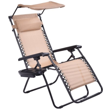 Costway Beige Folding Recliner Zero Gravity Lounge Chair With Shade Canopy &Cup Holder