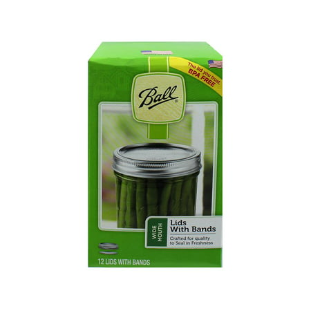 Ball, Wide Mouth Lids with Bands, BPA Free, 12 Count