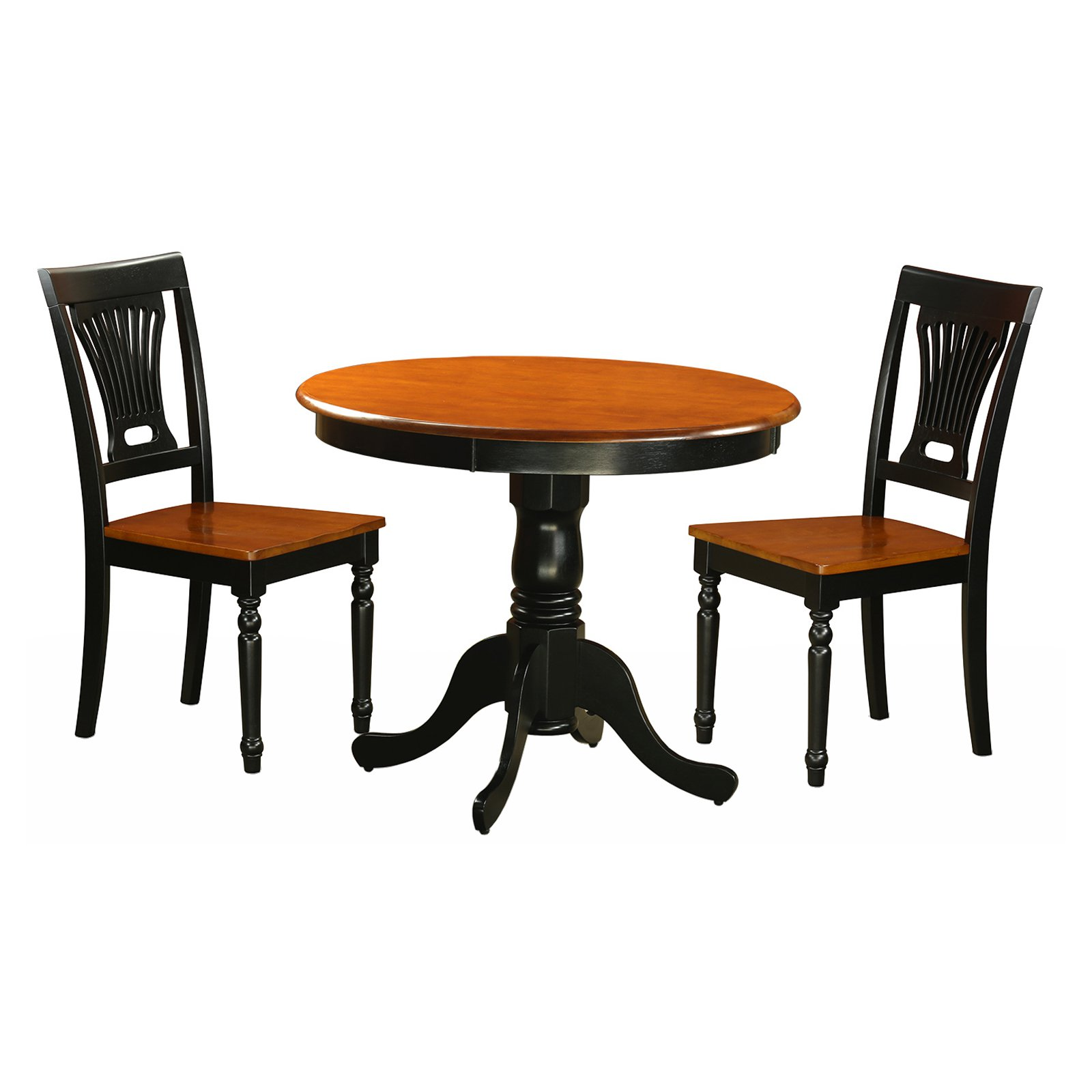 East West Furniture Antique 3 Piece Pedestal Round Dining Table Set with Plainville Wooden Seat Chairs