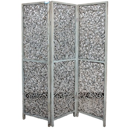 3 Panel Solid Wood Screen Room Divider Rustic Grey Color, By Legacy Decor