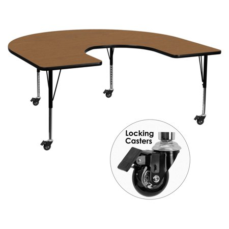 Horseshoe Table Decorations (Flash Furniture Mobile 60''W x 66''L Horseshoe Shaped Activity Table with Oak Thermal Fused Laminate Top and Height Adjustable Preschool)