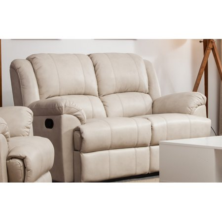 Taupe Leather Air Double Recliner Loveseat