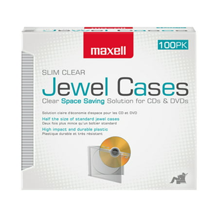Maxell 100-Pack Jewel Cases Slim Line, Clear Dvd Slimline Jewel Case