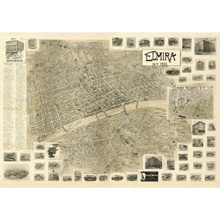 Antique Map of Elmira New York 1901 Chemung County Poster Print County New York Antique Map