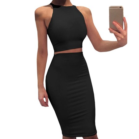 New Smocked Dress 2 Piece (KABOER 2019 Women New Fashion Crop Top And Slim Package Hip Skirt Suit Sexy Bodycon Solid Color Two Piece Vest Dress)