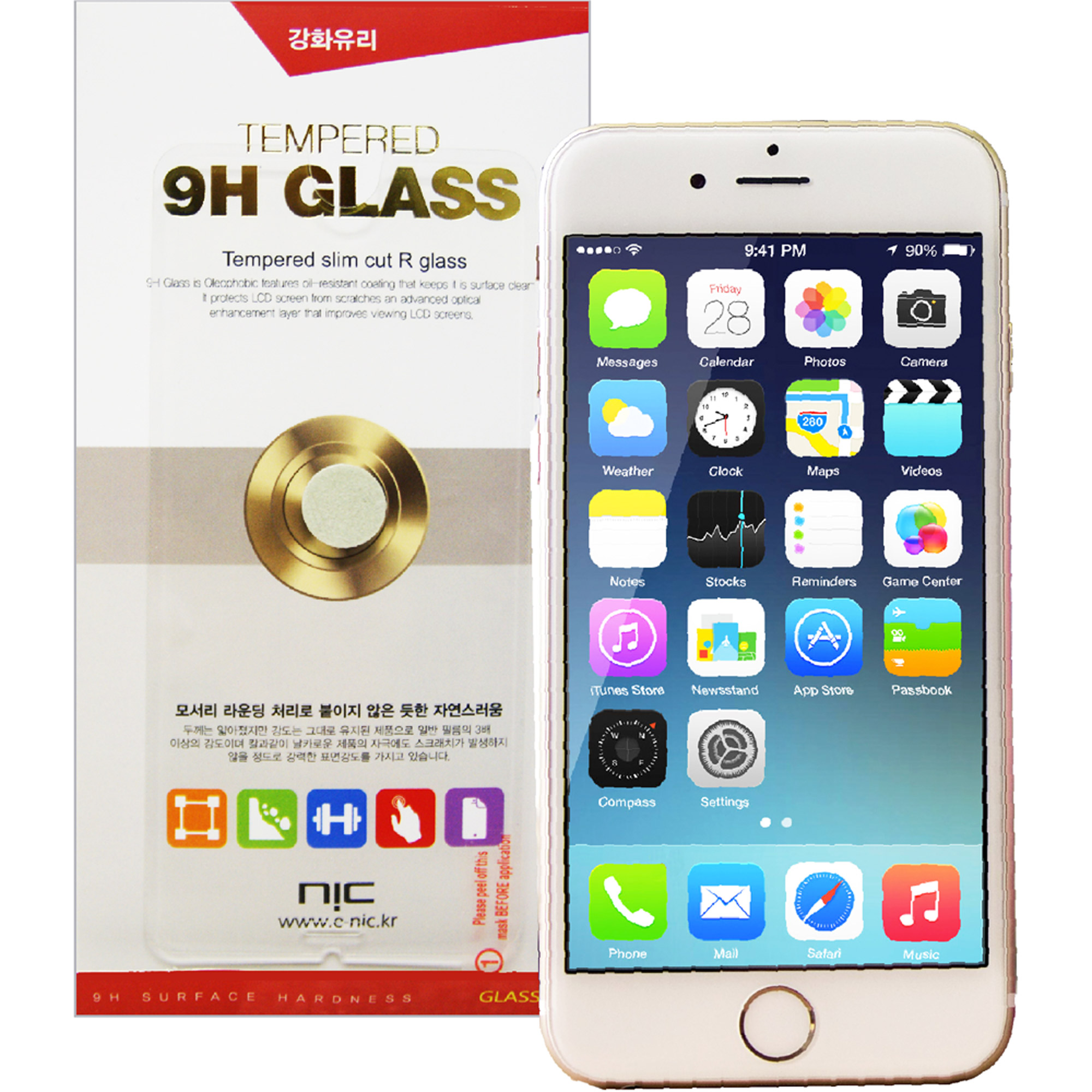 NIC Glasstic 9H Tempered Glass Screen Protector for Apple iPhone 6